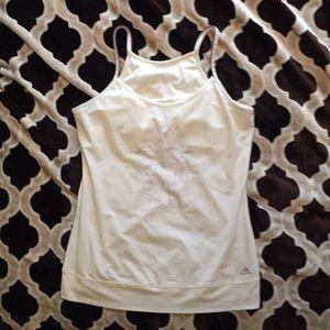 White adidas yoga bra tank/tunic, size large